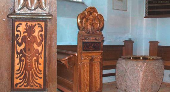 Romansk granitdøbefont i Kr. Sonnerup kirke